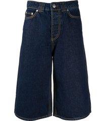 ganni wide-leg denim shorts - blue