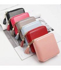billetera mujeres- monedero pequeño cuadrado simple-rosa