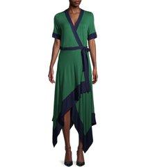 bcbgmaxazria women's handkerchief wrap dress - green - size xs