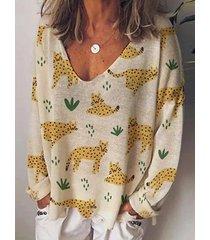 camicetta casual da donna con scollo a v manica lunga stampa tigre cartone animato