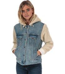womens ex-boyfriend sherpa sleeve trucker jacket