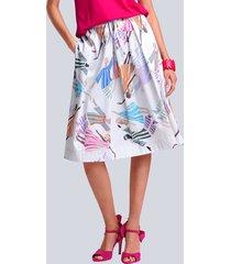 kjol alba moda vit::flerfärgad