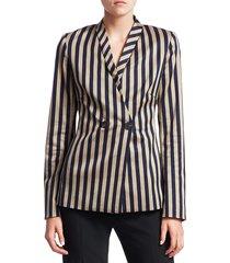 jonathan simkhai women's structured stripe blazer - midnight khaki - size 0