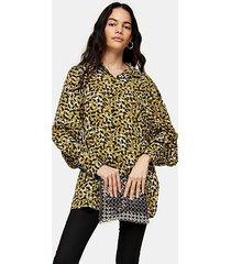 khaki smudge oversized shirt - khaki