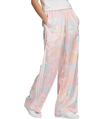 women's adidas originals tie dye satin pants, size x-large - white