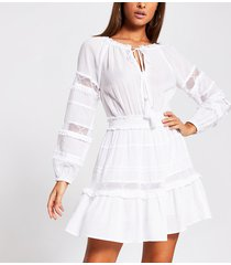 river island womens white mesh insert smock beach dress
