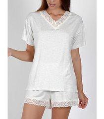 pyjama's / nachthemden admas pyjama kort t-shirt kanten nacht grijs