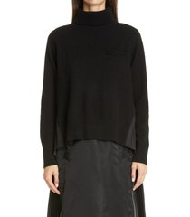 women's sacai contrast pleated back wool turtleneck sweater, size 3 - black