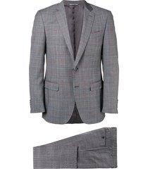 canali plaid two-piece formal suit - grey