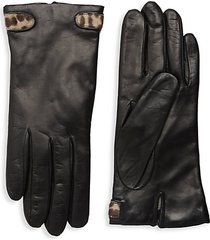 dyed calf hair-trimmed leather gloves