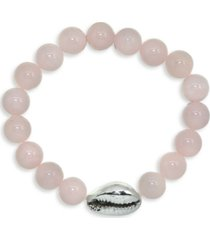 genuine stone bead puka cowrie shell stretch bracelet in fine silver plate