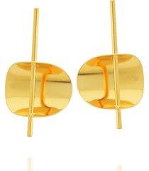brinco dona diva semi joias cãrculo dourado - dourado - feminino - dafiti