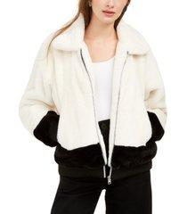 say what? juniors' faux-fur jacket