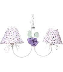 lustre 2l primavera transparente 2 flores potinho de mel lilã¡s - roxo - menina - dafiti