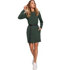 korte jurk moe m590 pullover jurk met embleemriem - mokka