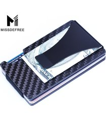 slim carbon fiber credit card holder nfc anti scan metal wallet money clip purse