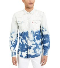 levi's men's standard barstow western bleached denim shirt