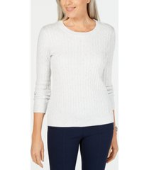 karen scott petite cable-knit sweater, created for macy's