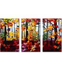 kit quadros decorativos floresta espatulada - unico - dafiti