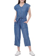dkny women's belted chambray jumpsuit - med wash denim - size 4