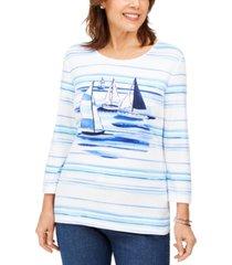 karen scott boat-print embellished top, created for macy's