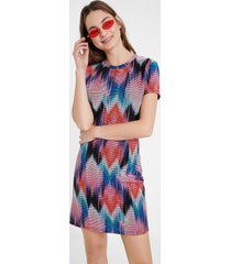 arty psychedelic diamonds dress - material finishes - xl