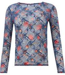 camiseta estampada en malla color azul, talla 10