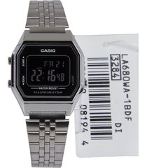 reloj casio la-680wa-1b retro mini para dama plateado/ negro