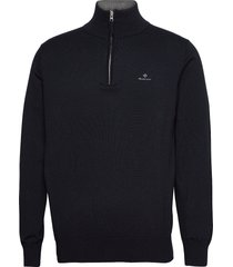 classic cotton half zip knitwear half zip jumpers blå gant