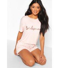 bridesmaid t-shirt & short pj set, rose gold