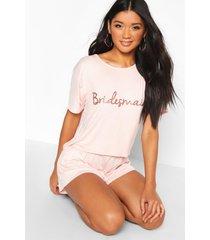 bruidsmeisjes t-shirt en shorts pyjama set, roségoud