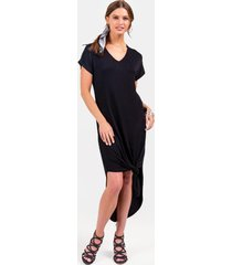 piper v-neck knit maxi dress - black