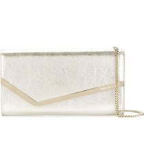 jimmy choo champagne emmie leather clutch bag - metallic