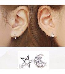 orecchini a lobo orecchio dolce s925 orecchini a stella zircone argento luna stelle gioielli eleganti per le donne