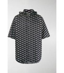 balenciaga bb-print detachable-hood shirt