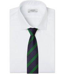 cravatta su misura, lanieri, regimental verde, quattro stagioni | lanieri