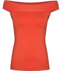 bluzka z odkrytymi ramionami pomarańczowa