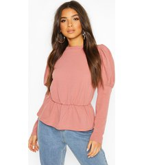 puff sleeve gathered waist top, rose