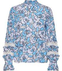 leo top blouse lange mouwen blauw fabienne chapot