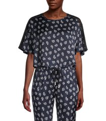 the kooples women's paisley cropped top - navy - size 1 (s)