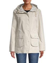 barbour women's thornfield waterproof hooded jacket - mist - size 10