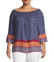 beach lunch lounge women's plus printed & smocked blouse - sapphire blue - size xl