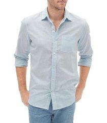 camisa lino blend hombre celeste gap
