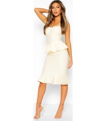 petite peplum fishtail bandage midi dress, champagne