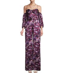 floral-print cold-shoulder jumpsuit