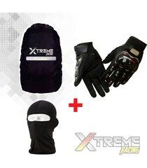 guantes pro biker + bala clava + forro maleta impermeable