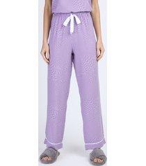 calça de pijama feminina reta estampada de poá com cordão lilás