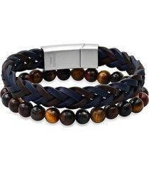 anthony jacobs men's 2-piece stainless steel & leather braided bracelet & tiger eye beaded bracelet set