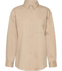 meluagz oz shirt overhemd met lange mouwen beige gestuz