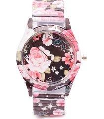 reloj para mujer flores fondo negro color rosado, talla uni